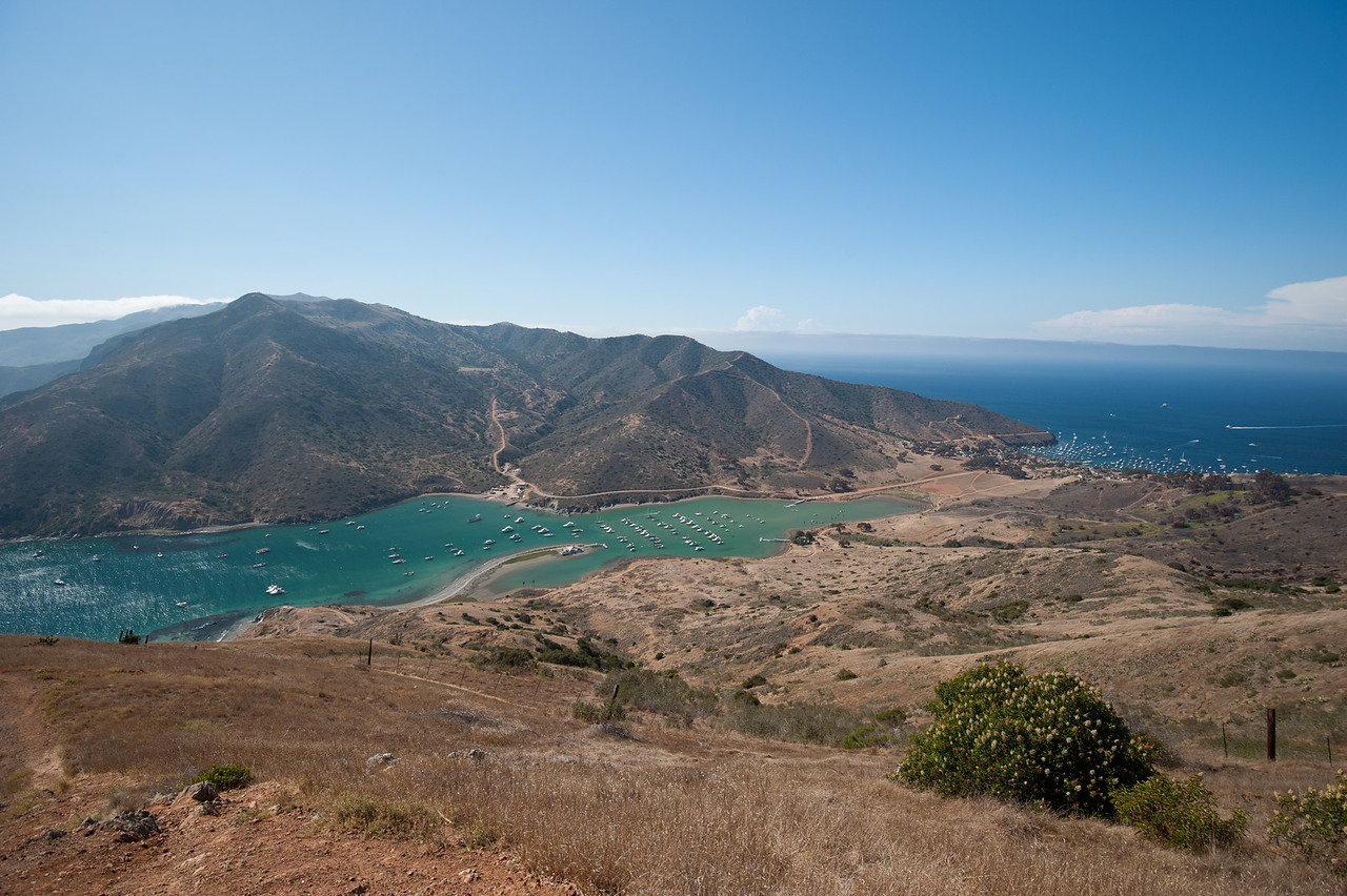 This is a good view of the Isthmus of Catalina Island. Looking approximately west, at Catalina Harbor (left and center) and Isthmus Harbor (right). Taken on July 31, 2011 with a Nikon D700.