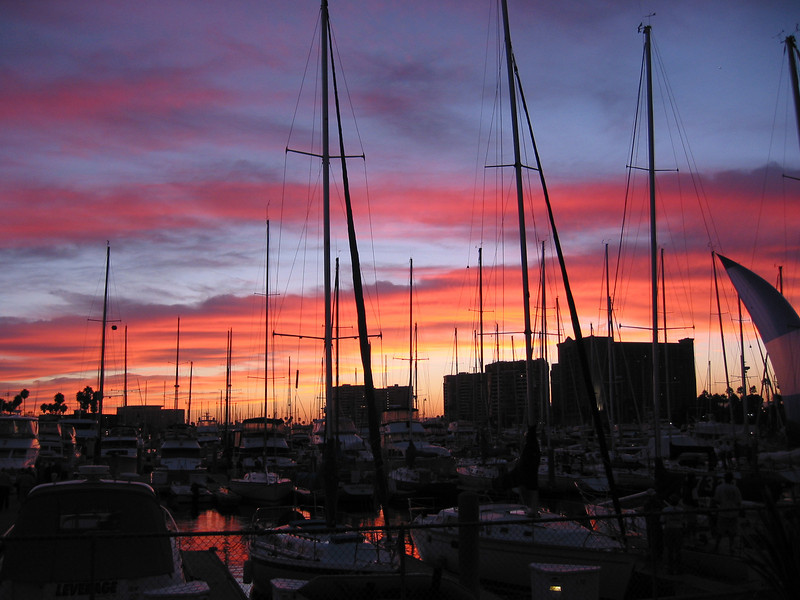 Sunset from California Yacht Club in Marina Del Rey, California. Taken on Aug. 6, 2003 with a Canon S40 point and shoot.