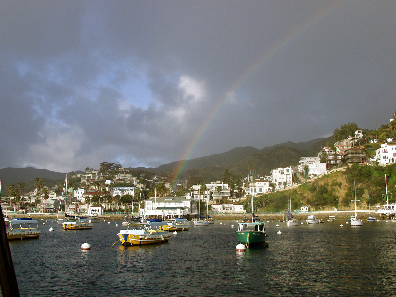Rainbow over Avalon, California. Taken on April 9, 2001 with an Olympus E10.