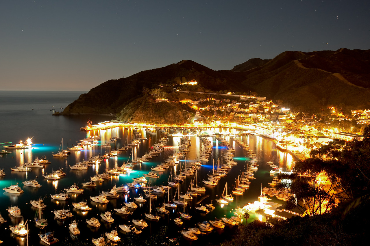 Night view of Avalon Harbor. Taken on Sept. 25, 2010 with a Nikon D700.