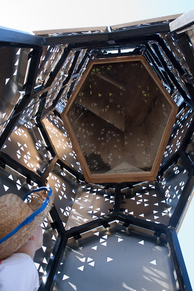 Elevator B, a 22-foot-tall tower for bees designed and built by students in partnership with Rigidized Metals. The innovation in animal architecture and material culture stands today among a cluster of similarly experimental structures from Buffalo's industrial age - the grain elevator. Photo courtesy of School of Architecture and Planning