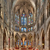 """The elements visible here date from the 15th century expansion of the church.  The semi-circular shape of the apse embraces and accentuates the central altar, while at the same time the curved form inspires an intimate feeling of shelter and protection.  <a href=""""http://www.saint-severin.com/"""">http://www.saint-severin.com/</a>"""