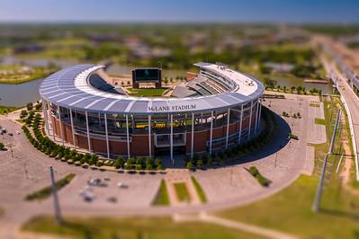 McLane Stadium - front entrance, sign - miniature, drone, aerial, athletics, football