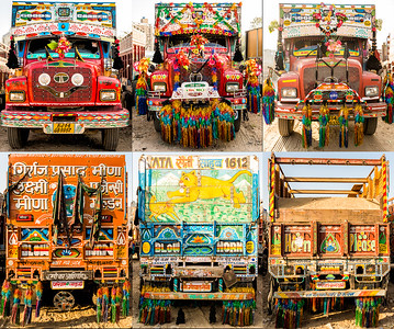 Long-Haul Trucks in India decorated as homes