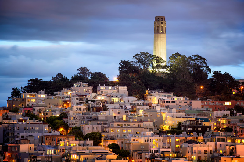 Coit Tower at Dusk