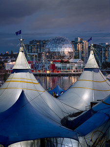 Tents of Cirque du Soleil and Science World.
