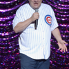 Jeff Garlin engages with fellow Chicago Cubs' fans in the crowd.