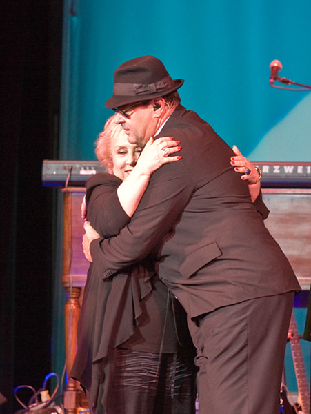 Dan Aykroyd embraces Doris after performing his famed Blues Brothers act, 2008.