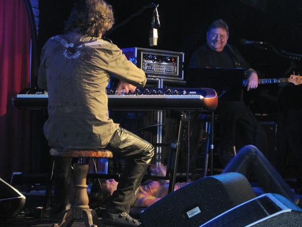 Deb under piano with Keith wailing!