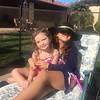 Cousin Mia and Carmen poolside.