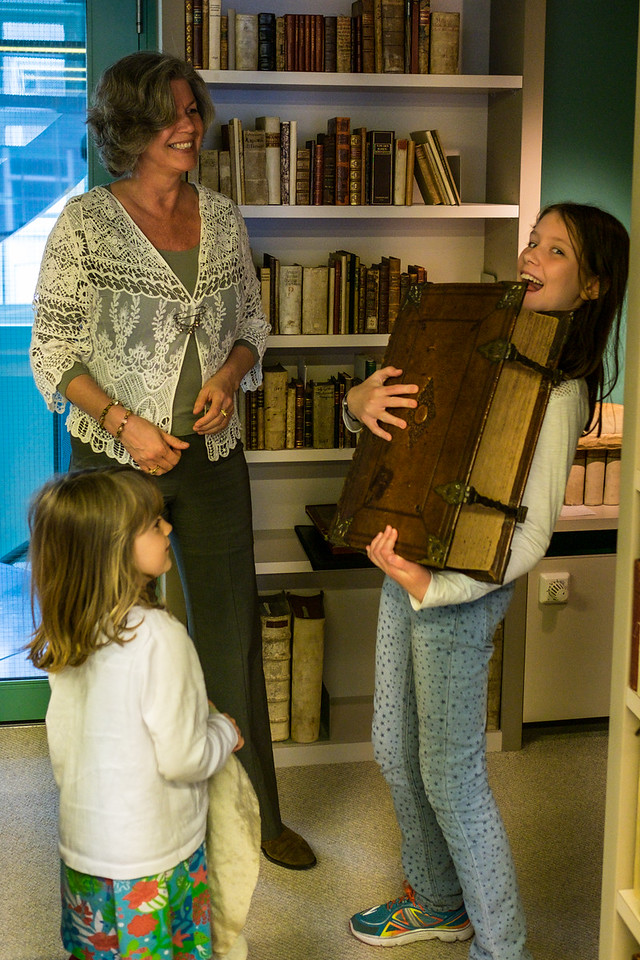 We had a unique and wonderful experience visiting The Ritman Library in Amsterdam - The Library of Hermetic Philosophy.  Esther Ritman gave us a private tour of the treasure room - ancient manuscripts, hundreds of years old, and had Ruby and Naomi search for the smallest and biggest books. Here are the girls with the biggest book, containing secret stories of human existence.<br /> <br /> Thought to pre-date Christianity, the discovery of ancient texts by Hermes Trismegistus sparked the Renaissance, but these works were later considered heretical.  Even earlier they went into hiding, only to re-emerge over 1000 years later.  They have a deep history which extends back through ancient Greece, Egypt, and Alexandria.<br /> <br /> After looking through this giant book, Esther took us on a tour of an ancient manuscript with pop-up' illustrations by Jacob Bohme and Dionysus Freher. Moving through the layers of she told the hidden story of Man's oneness with Nature and the Universe, until arriving at the original source of its emanation.