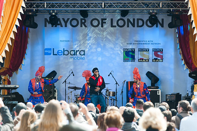 Asli Baharan Punjob Diyan dancers perform with San 2 at the Vaisaki Festival in Trafalgar Square