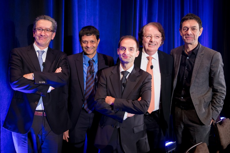 The Fab Five Myeloma Expert Team pose for a parting photo. [From Left to Right:] Drs. Jesús San Miguel, S. Vincent Rajkumar, Bruno Paiva, Brian G.M. Durie, and Philippe Moreau.