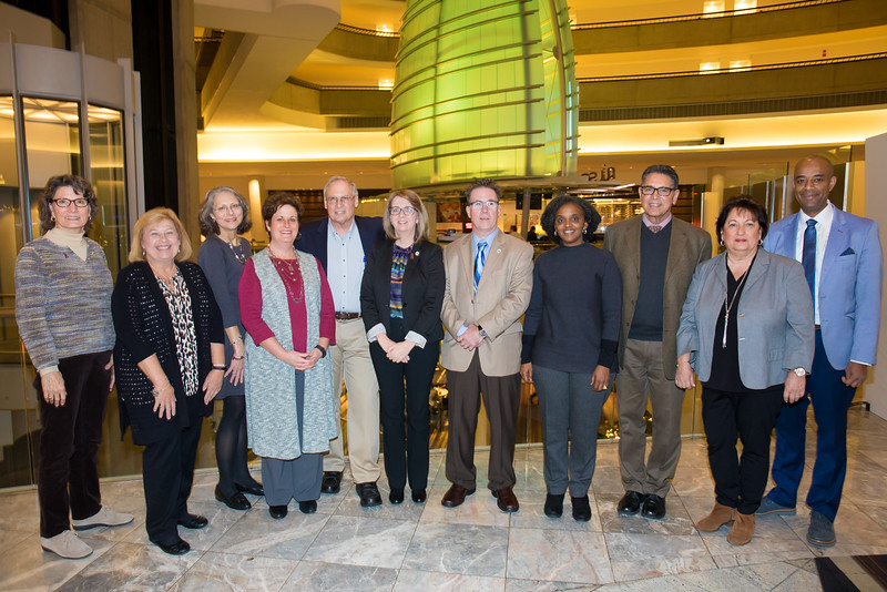 [From Left to Right:] IMF-affiliated myeloma support group leaders Nancy Bruno, Cindy Chmielewski, Linda Huguelet, Teresa Miceli, Jack Aiello, Robin Tuohy, Michael Tuohy, Tiffany Williams, John DeFlice, Laura Mooney, and Yelak Biru.