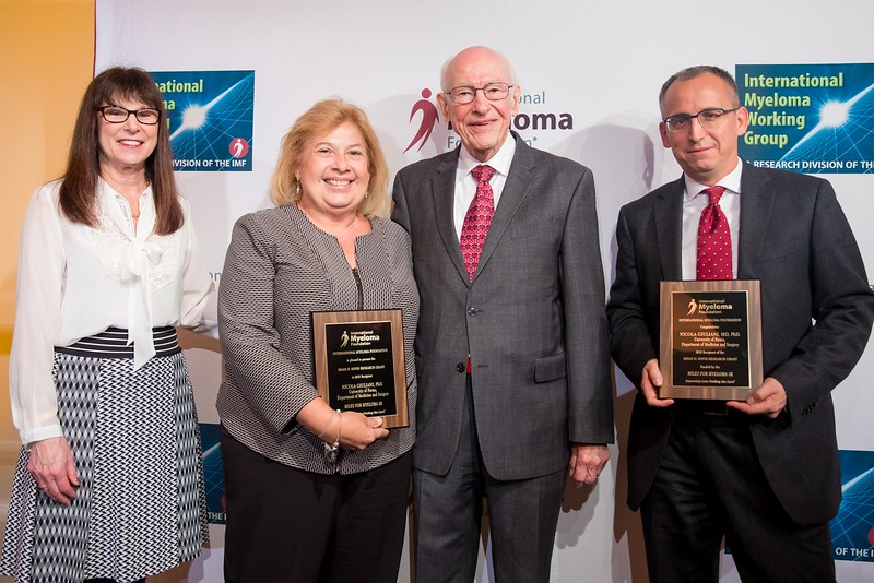[From Left to Right:] IMF Founder, President, and CEO Susie Durie; myeloma survivor and facilitator of the Philadelphia Multiple Myeloma Networking Group Cindy Chmielewski; esteemed myeloma researcher Dr. Robert A. Kyle; and Brian D. Novis Senior Grant Award recipient Nicola Giuliani, MD, PhD.