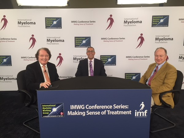 "Drs. Brian GM Durie, Joseph Mikhael and Paul Richardson minutes before going live on the IMF's highly anticipated ""Making Sense of Treatment"" IMWG conference series broadcast on December 11th from ASH 2017 in Atlanta."