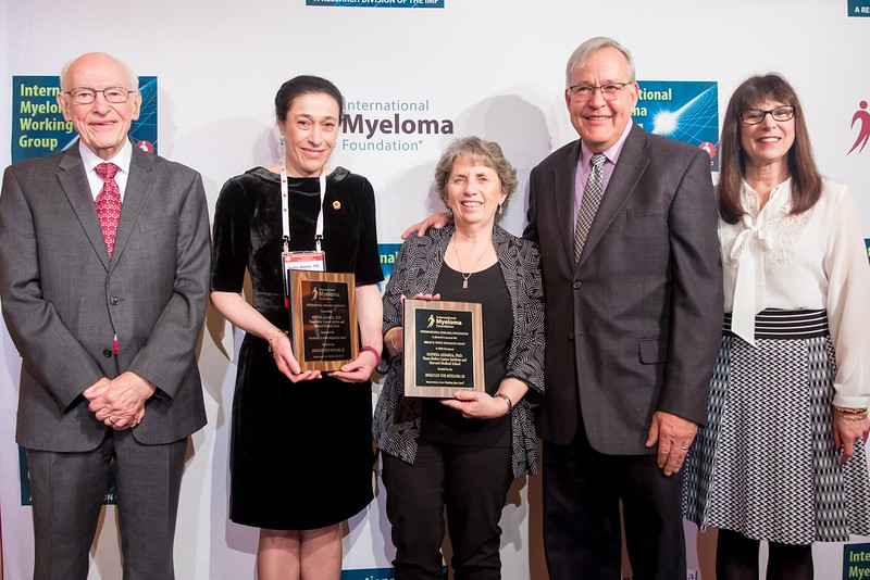 The IMF awarded its 2018 Brian D. Novis Research Grants in a ceremony on Saturday, December 9, 2017. [From Left to Right:] Esteemed myeloma researcher Robert A. Kyle, MD; Brian D. Novis Senior Grant Award recipient Sophia Adamia, PhD; Sheree Pask and Ron Pask (whose Miracles for Myeloma 5K helped raised money for the research grant); and IMF Founder, President, and CEO Susie Durie.
