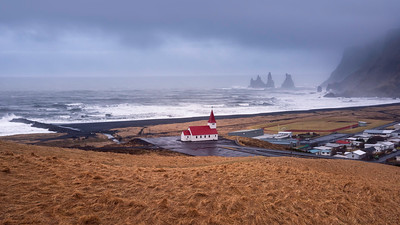 Overcast is a common weather in Iceland. There are still plenty of opportunities for landscape photography though. Icelandic churches could be a thing on its own. Every single one of them has a unique Icelandic signature design. They are very well placed. It is a pure joy to photograph them.