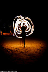 Roatan May 2012-1313  Fire Dancer in front of the Bananarama Dive resort.