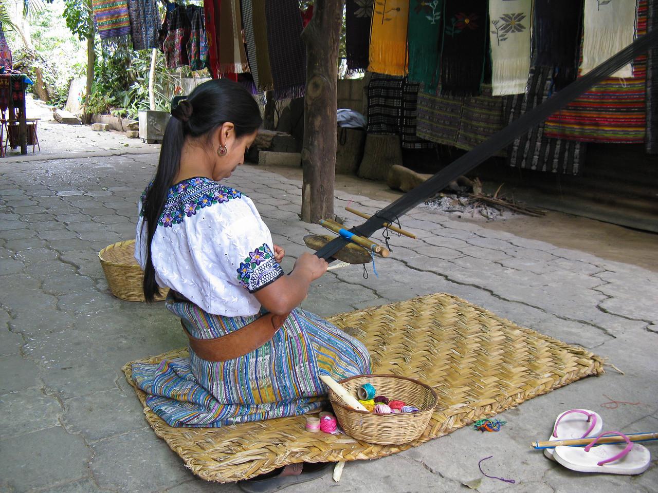 Ladies weaving in Guatemala.