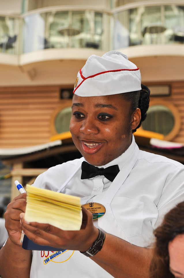 Young Jamaican server on the Oasis of the Seas.