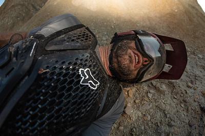 Kirt Voreis lies in the dirt in California