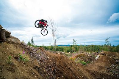Kirt Voreis rides his mountain bike at Galbraith Mountain near Bellingham, Washington.