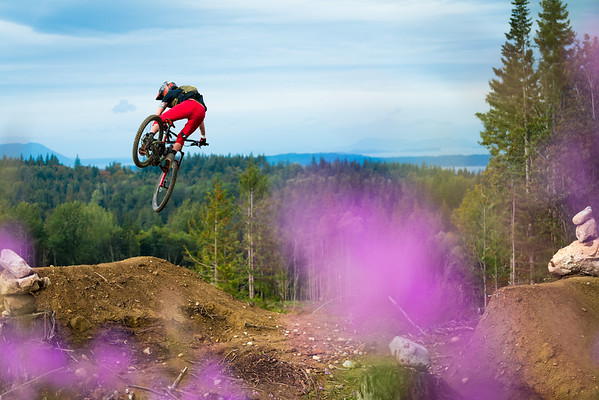 Kirt Voreis rides his mountain bike at Galbraith Mountain near Bellingham, Washington.