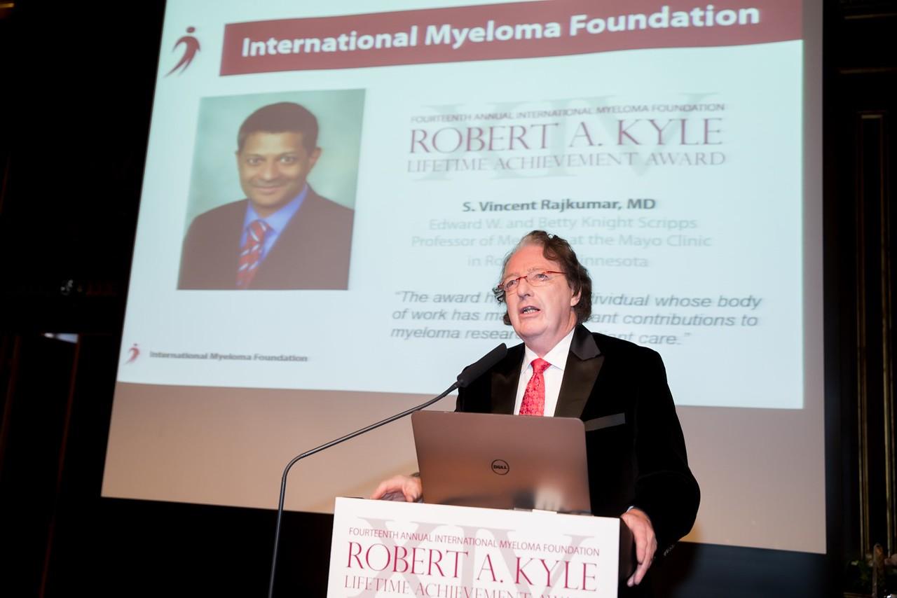 Dr. Brian Durie introduces the 2016 Robert A. Kyle Lifetime Achievement Award recipient.