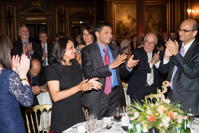 Dr. S. Vincent Rajkumar and his wife Priya celebrate at the awards dinner.