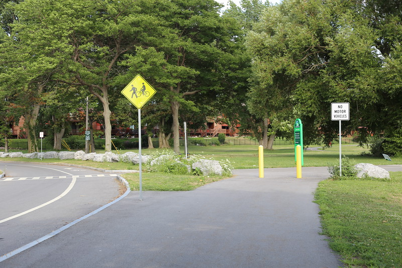 Road and Bike Path at Lakefront Boulevard Entrance - inside LaSalle Park