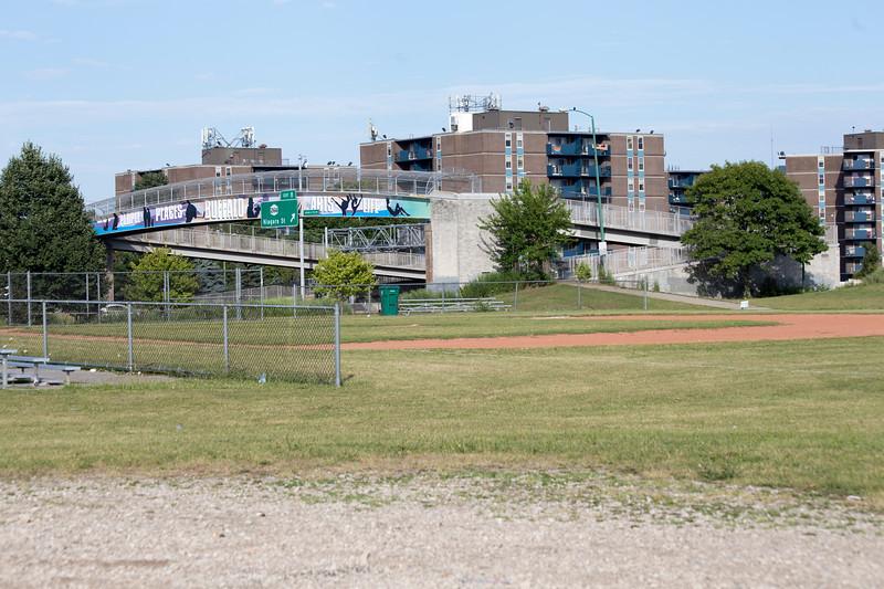 Hudson Street Pedestrian Bridge (view from LaSalle Park across baseball field)