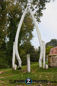 The Penniman House was the home of a local whaler. These are huge whale mandable's fashioned into an entranceway