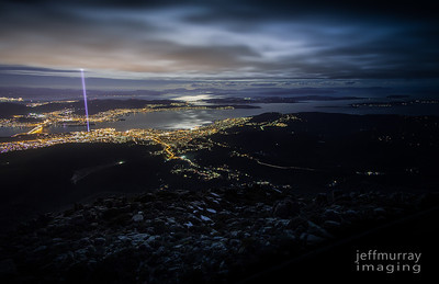 The Ryoji Ikeda's epic spectra [tasmania]. Beam me up to Mt Wellington & a view of the super moonlit Derwent — at Mount Wellington.