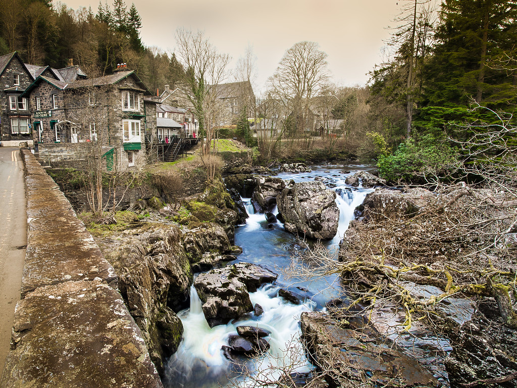 Another shot of Swallow Falls.  A view from the bridge and Betsw y Coed.