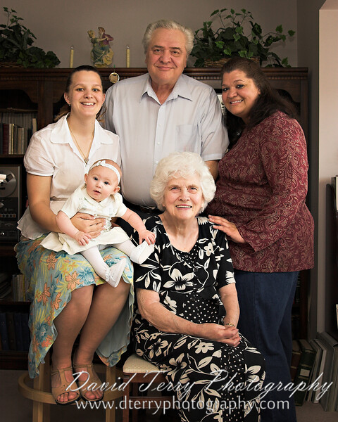 Five Generations! From my grand daughter sitting in my daughter's lap, to my wife on the right, to her dad and his mom.