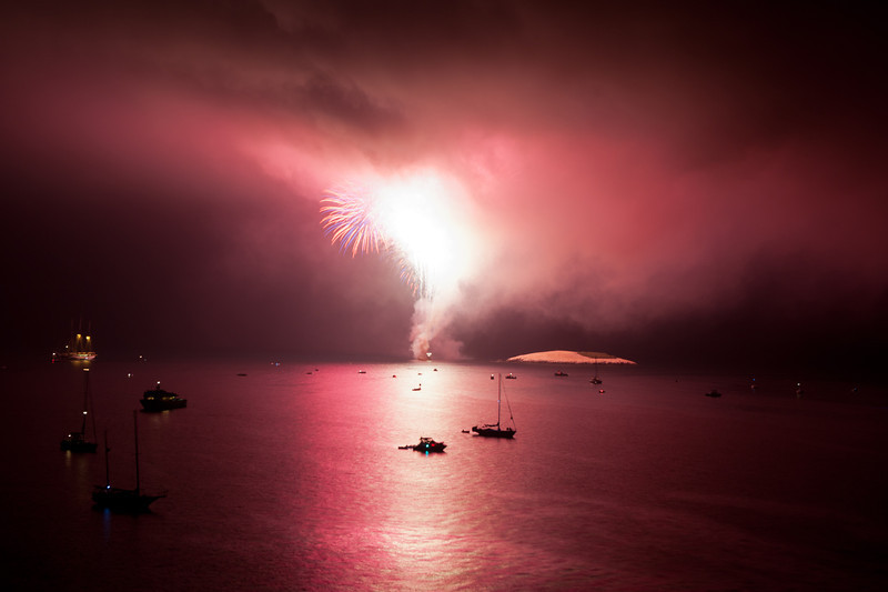Fireworks over the Isthmus at Catalina Island.