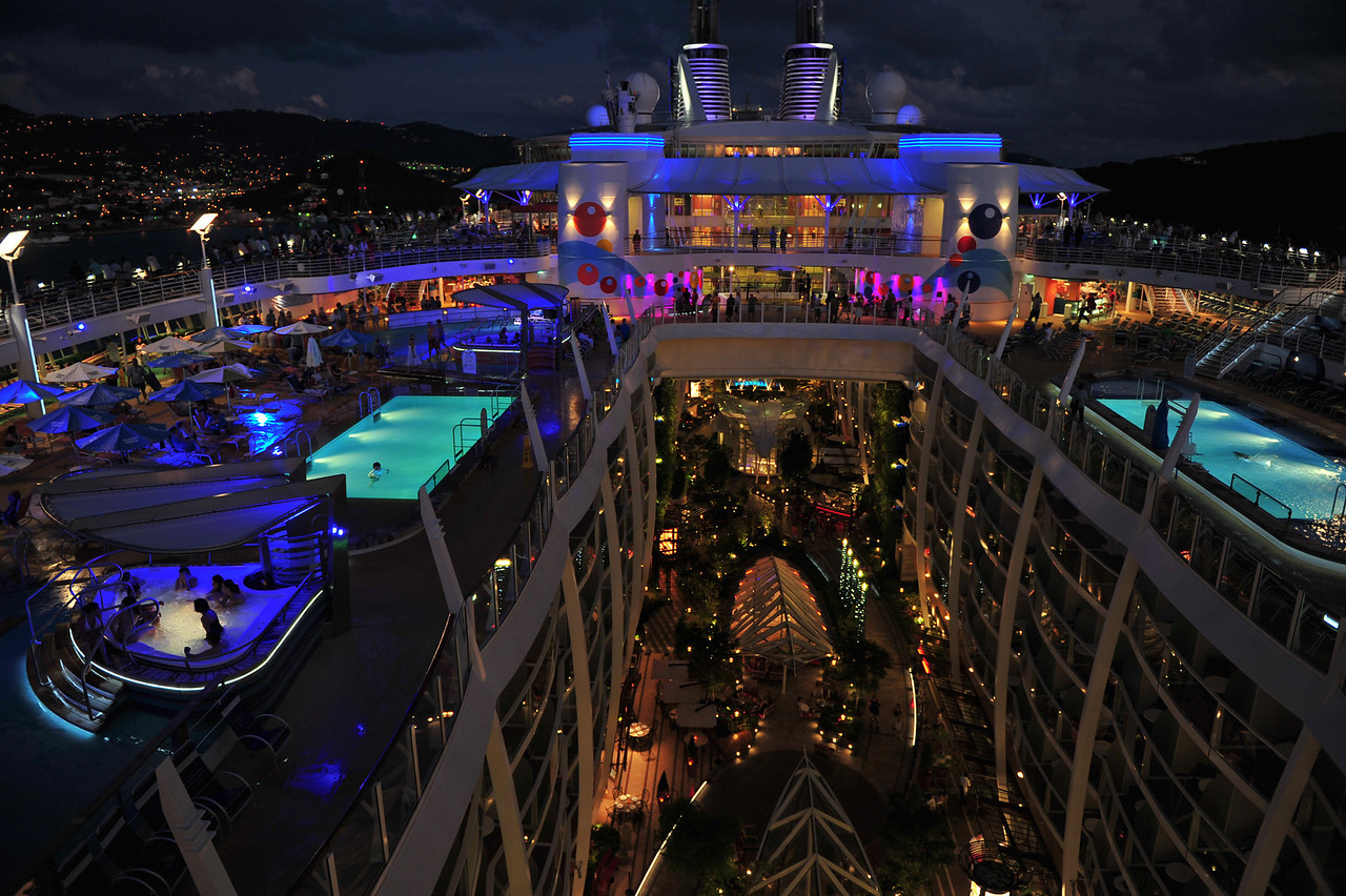 Another view of the upper decks of the Oasis of the Seas looking down into Central Park.