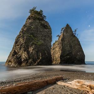 Moonlit sea stacks