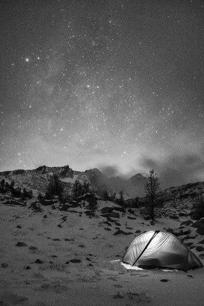 A little camping high up, under the stars.  It was pretty darn cold, so much that I couldn't stand but about 10 minutes out of the tent.  But it was nice to be the only people up in the Enchantments, a rare solitude, with a little Milky Way barely visible in the background.