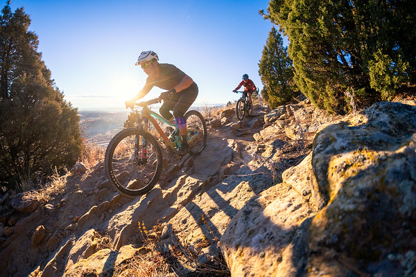 Mountain Bikers on Dakota Ridge Trail near Morrison Colorado