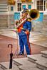 Tuba Player and Cymbal Player with Umbrella