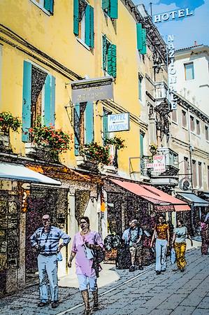 Venice Street Scene #10, Stylized
