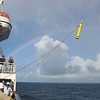 Float deployment from the TS Golden Bear with a rainbow in the background (photo by John Polling)