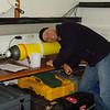 Miles Dunkin (NIWA) listening for float piston motor mechanism on the RV Tangaroa (courtesy of MFishLINZ)