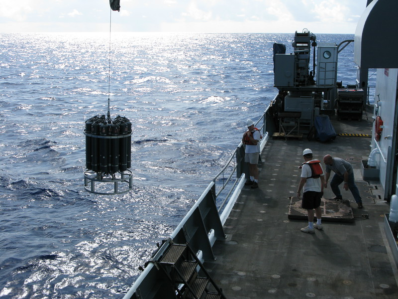 A CTD is deployed to search the water column for hydrothermal plumes