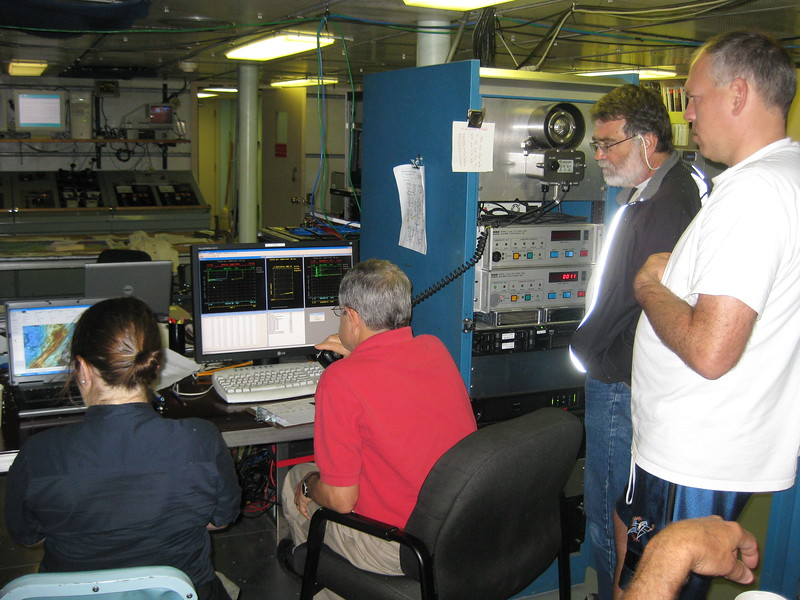 Data are displayed in the ship's computer lab during a CTD tow