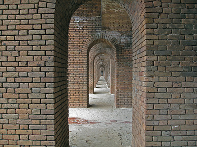 Endless arches inside Fort Jefferson