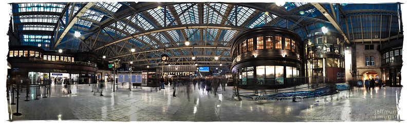 I love this place, having spent 20 or so minutes here every night for four years - And a quick walk through every morning.<br /> <br /> <br /> <br /> It's Central Station in rush hour.  <br /> <br /> <br /> <br /> This is a 39 shot high saturation HDR = seven overlapping shots on the floor and six for the glass roof.  I normally don't use the over saturation of this effect as I like 'realistic' shots.  However the abundance of white here just washed away an interior that is just truly stunning to my eye.
