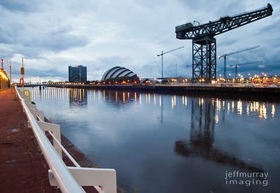 SECC, Armadillo and Finnieston Crane Glasgow Night Shot.  The Finnieston crane